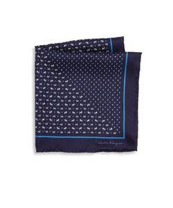 Salvatore Ferragamo | Dog Pattern Silk Pocket Square