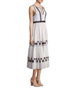 Suno | Embroidered Cotton Leaf Gown