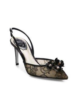 Rene Caovilla | Embellished Lace Snakeskin Slingbacks