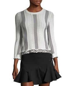 Derek Lam 10 Crosby   Pointelle-Knit Ruffle Trim Sweater