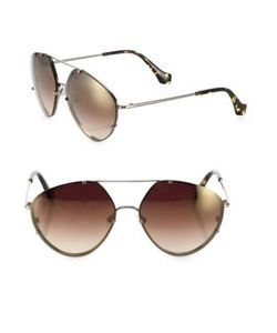 Balenciaga | 60mm Geometric Aviator Sunglasses