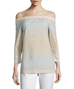 Lafayette 148 New York | Amy Striped Off-The-Shoulder Blouse