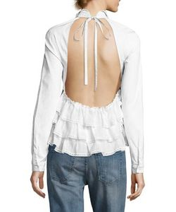 Sandy Liang | Fawn Ruffle Back Top