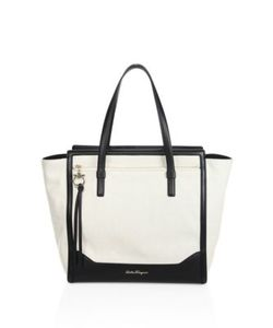 Salvatore Ferragamo | Large Amy Leather-Trim Canvas Tote