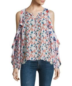 Tanya Taylor | Ikat Gauge Corrine Silk Cold Shoulder Top