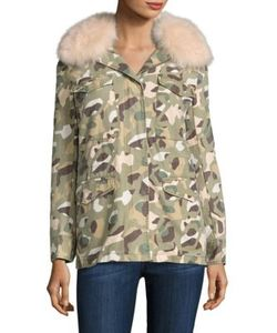 Army Yves Salomon | Fox Fur Trim Camouflage Parka