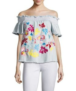 Tanya Taylor | Carmen Fringed Embroidered Top