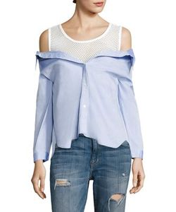 Sandy Liang   Devlin Layered Cotton Mesh Top