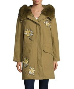 Army Yves Salomon | Fur Trim Patch Parka
