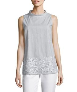 Lafayette 148 New York | Kalyn Embroidered Striped Blouse