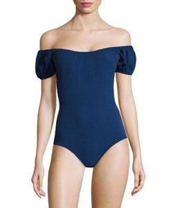Lisa Marie Fernandez   Leandra Seersucker Maillot Swimsuit