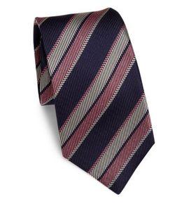 Kiton | Stripe Textu Silk Tie