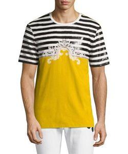 Versace Collection | Baroque Marine Cotton T-Shirt