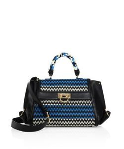 Salvatore Ferragamo | Sofia Medium Woven Leather Top-Handle Bag