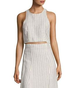 Theory | Nikayla Striped Linen Cropped Top