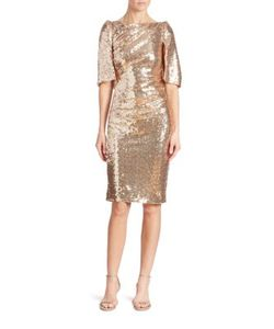 Talbot Runhof | Sequin Cape Dress