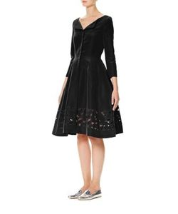 Carolina Herrera | Long Sleeve Cutout Silk Faille Dress