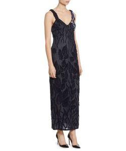 Giorgio Armani   Embroidered Tulle V-Neck Gown