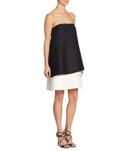 Halston Heritage | Strapless Tiered Colorblock Dress