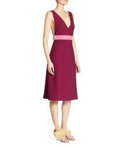 Prada | Velvet Bow-Back Cady V-Neck Dress