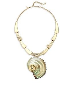 Alexis Bittar | Lucite Crystal-Studded Sculptural Shell Pendant Necklace/Convertible Pin