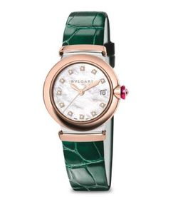 BVLGARI | Lvcea Diamond Mother-Of-Pearl Alligator Strap Watch/