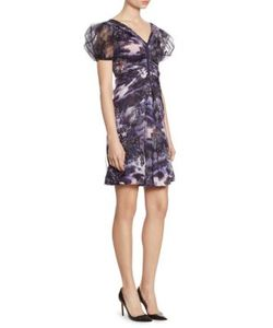 Giorgio Armani   Full Sleeve Silk Charmeuse V-Neck Dress
