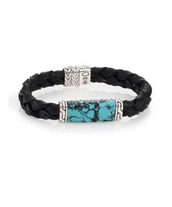 John Hardy | Batu Classic Chain Turquoise Sterling Leather Bracelet
