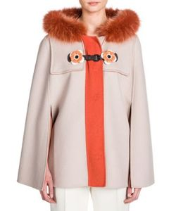 Fendi | Flower-Detail Double-Face Wool Fox Fur Cape