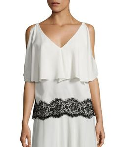 Derek Lam | Silk Lace Cold Shoulder Top