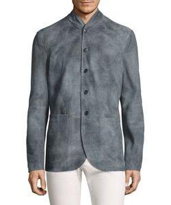 John Varvatos | Mock Collar Leather Jacket