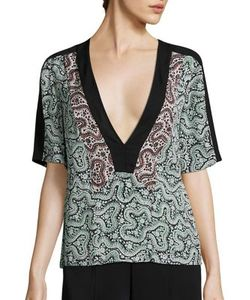 A.L.C. | Lilias Deep V-Neck Silk Top