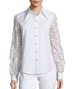 Michael Kors Collection | Eyelet Button Front Shirt