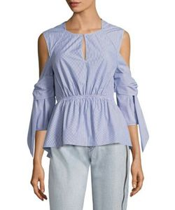3.1 Phillip Lim | Striped Cold-Shoulder Peplum Shirt