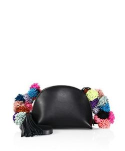 Loeffler Randall | Pom Pom Trimmed Leather Crossbody Pouch
