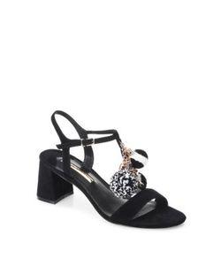 Sophia Webster | Juno Pom-Pom Suede T-Strap Block Heel Sandals
