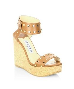Jimmy Choo | Nellie 100 Wxw Studded Leather Cork Wedge Sandals