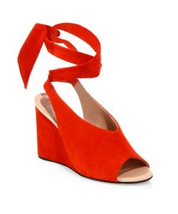 Derek Lam | Maud Suede Ankle-Wrap Wedge Sandals