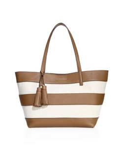 Michael Michael Kors | Striped Coated Canvas Large East West Tote