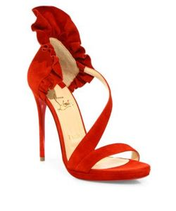 CHRISTIAN LOUBOUTIN | Colankle 120 Ruffled Suede Sandals