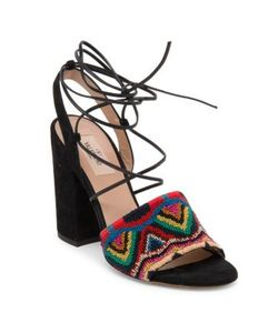Valentino | Native Embroide Suede Lace-Up Ankle-Wrap Sandals