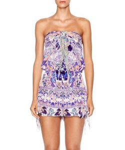 Camilla | Chinese Whispers Silk Tie-Front Playsuit
