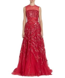 Zuhair Murad   Sequin-Embroidered Illusion Gown