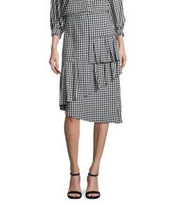 Tibi | Gingham Ruffled Skirt