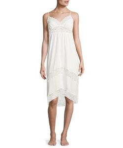 In Bloom   Lace-Inset Jersey Nightgown