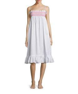 Lisa Marie Fernandez | Selena Smocked Cotton Slip Dress