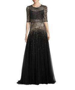 Jenny Packham   Sequin Embellished Gown