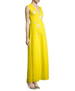 Delpozo | Sleeveless Embroidered Gown