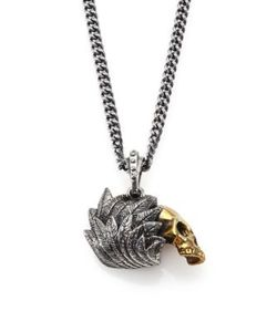 King Baby Studio | Alloy Skull With Raven Wing Pendant Necklace