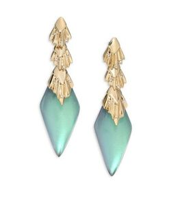 Alexis Bittar | Lucite Crystal Studded Pleated Dangling Drop Earrings